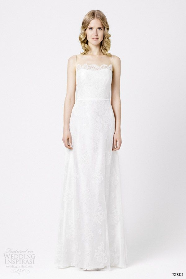 kisui berlin bridal 2015 linaria sleeveless wedding dress spaghetti straps