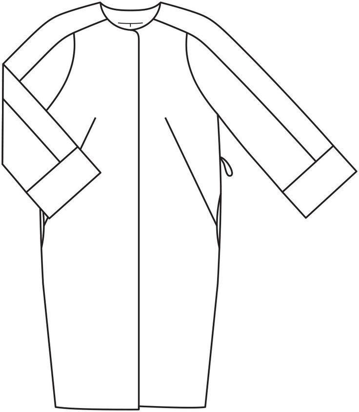Пальто о-силуэта - выкройка № 104 В из журнала 12/2015 Burda – выкройки пальто на Burdastyle.ru