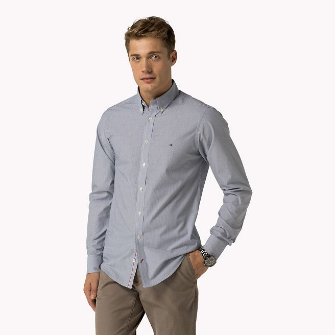 99,90 euro Camicia aderente in popeline di cotone di Tommy Hilfiger - dutch navy / classic white (Blue) - camicie casual di Tommy Hilfiger - immagine dettaglio 1