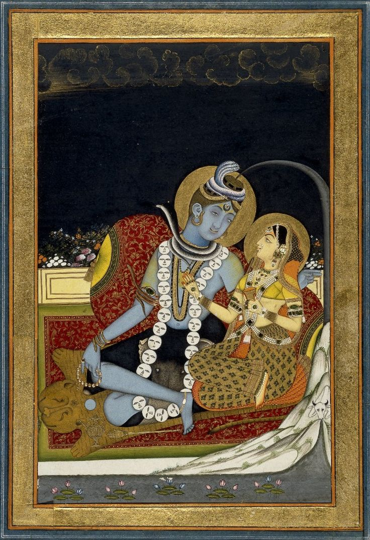 6_Śiva_and_Pārvatī_seated_on_a_terrace._1800_(circa)_    Shiva with Parvati. Shiva is depicted three-eyed, the Ganges flowing through his matted hair, wearing ornaments of serpents and a skull garland, and covered in ashes, and seated on a tiger skin