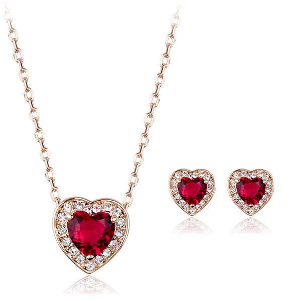 В форме сердца австрийских кристаллов циркон стильный поддельные золотые украшения комплект для женщин