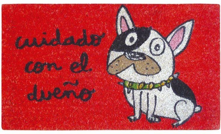 Felpudo Cuidado con el dueño. Un felpudo original y muy colorido perfecto para regalar. Con diseño de Anna Llenas, y lo tenemos en Decocuit, regalos y decoración en Burgos y también en www.decocuit.com.