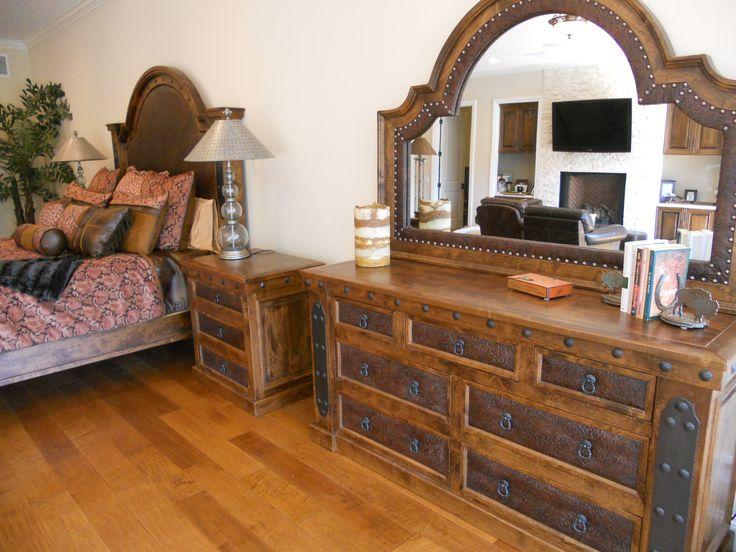 cowhide western pin bedroom rustic furniture co pinterest