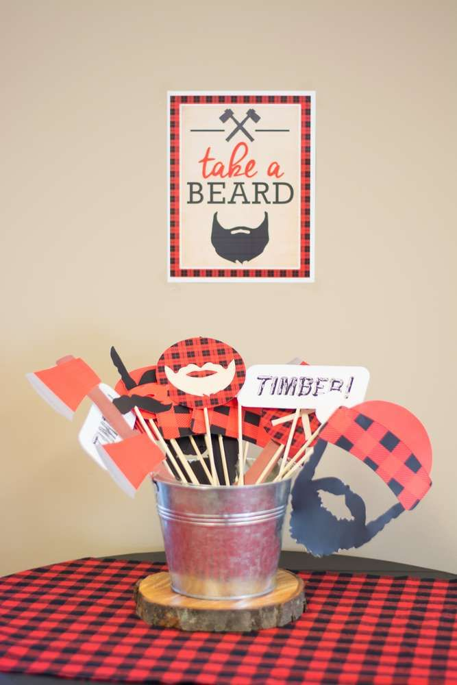 Photo booth at a lumberjack birthday party! See more party ideas at CatchMyParty.com!