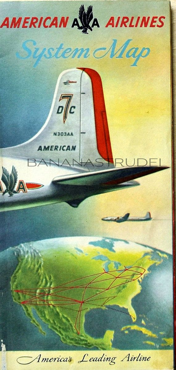 1946s American Airlines System Map. DC7. Route by bananastrudel