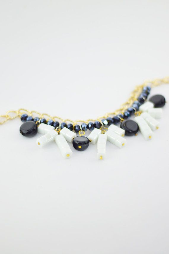 FREE SHIPPING Ronceng Black and White Stone Statement Necklace, Gold Plated Necklace, Beaded Jewelry, Gift For Her, Women Accessory