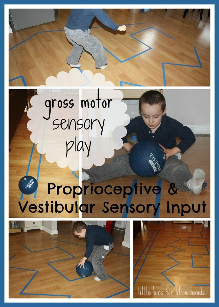 Simple Indoor Gross Motor Sensory Play Idea. Items needed: painter's tape and a small medicine ball.