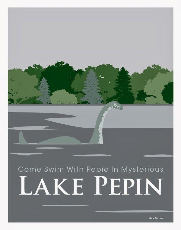 Pepie The Lake Monster in Lake Pepin Minnesota - MN Roadside Attraction Travel Poster, copyright 2013 Marie Plocharz