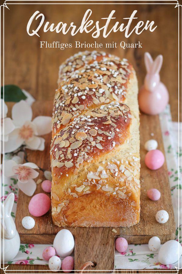 Rezept für einen Quarkstuten aus Hefeteig. Er wird super locker, fluffig und zart. Das Rezept kann wahlweise mit wenig Hefe und Lievito Madre zubereitet werden und nach Wunsch über Nacht im Kühlschrank gehen. So braucht das Hefegebäck morgens nur noch gebacken werden. #backen #rezept #ostern #thermomix #brioche #frühstück #breakfast #baking