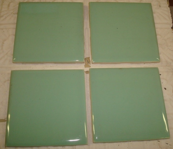 4 Pc Lot Vintage Bathroom Ceramic Tiles Jadeite Mint Green Color Vintage Bathrooms Mint Green