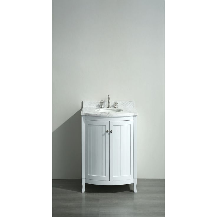 Eviva Odessa Zinx White 24 Inch Bathroom Vanity With White Carrera Marble  Counter Top