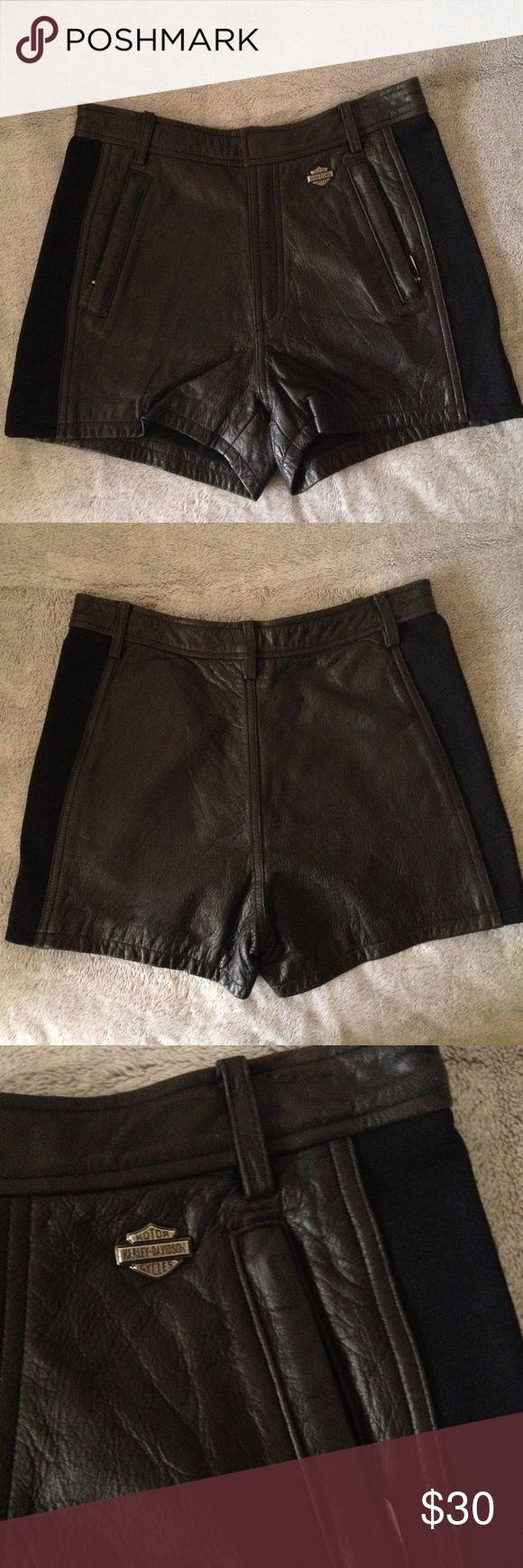 Harley Davidson Shorts High waisted leather shorts with stretchy material on the side. They'll look super cute when you're on that motorcycle 😎 Harley-Davidson Shorts