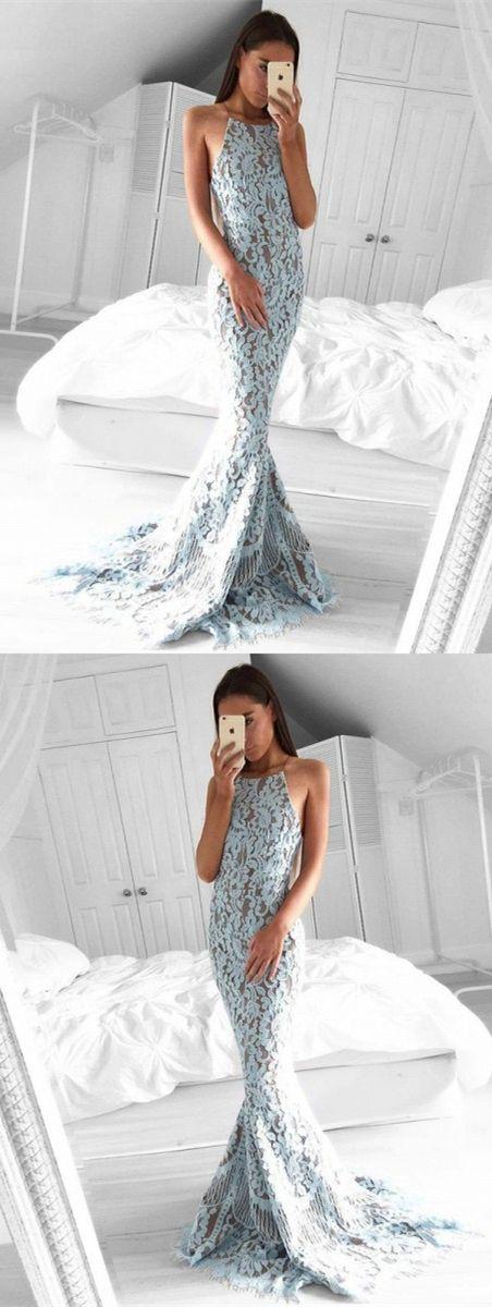 modest light blue lace prom dresses, unique halter backless party dresses, simple mermaid evening dresses