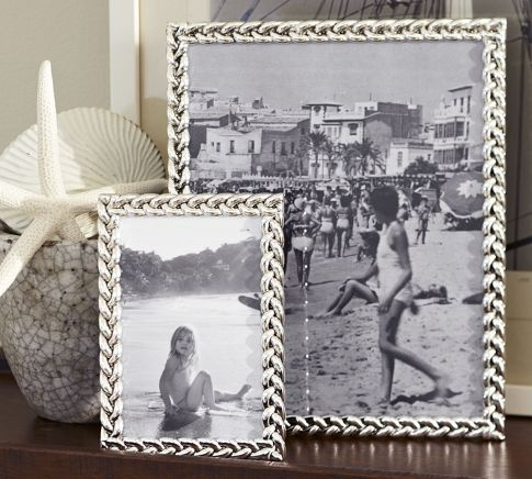 pottery barn - braided silver-plated frames - i only do silver/ nickel frames and these have a nice texture to them