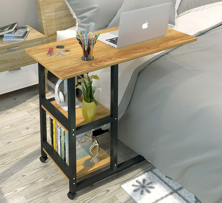 Supreme Schlafsofa Beistelltisch Laptop Schreibtisch Mit Regalen Radern Eiche Amp Diy Side Table Side Tables Bedroom Laptop Desk For Bed