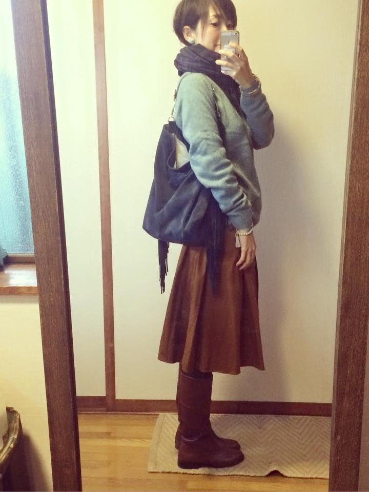 ユニクロメンズニット×ZARAスカートの補色コーデとママイキ2・3回目参加 10月17日