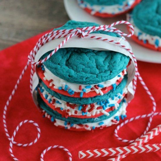 These Patriotic Whoopie Pies are made with a cake mix