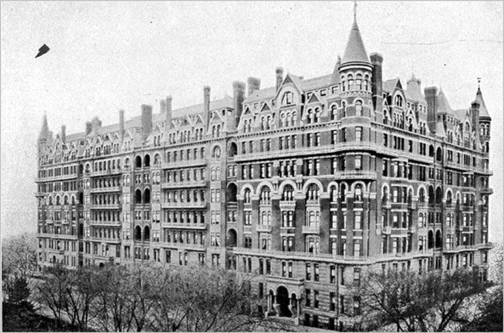 New York's most spectacular apartment building. The Navarro Flats was built on Central Park South at Seventh Avenue in the mid-1880s. By the 1920s it was gone.