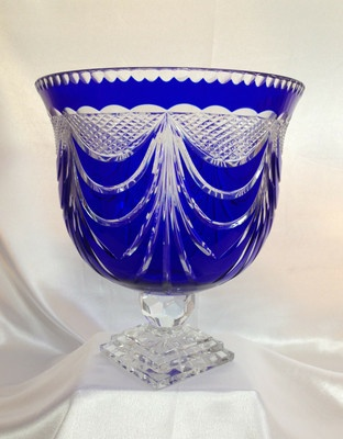 Bohemian Czech Royal Cobalt Blue Lead Pedestal Cut to Clear Crystal Bowl 11 | eBay