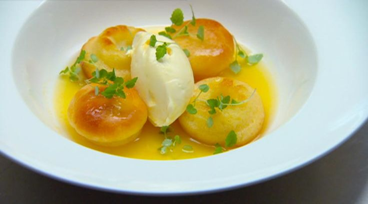 Rum Babas with passionfruit syrup
