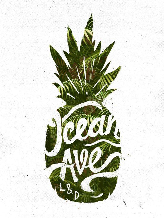Ocean Ave Lettering and Design Pineapple Logo Art Print