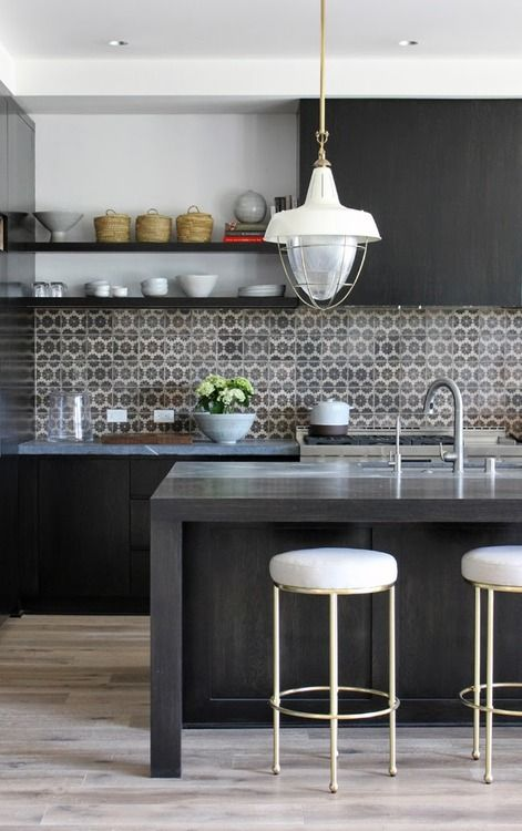 gray and black kitchen-- love the stools!