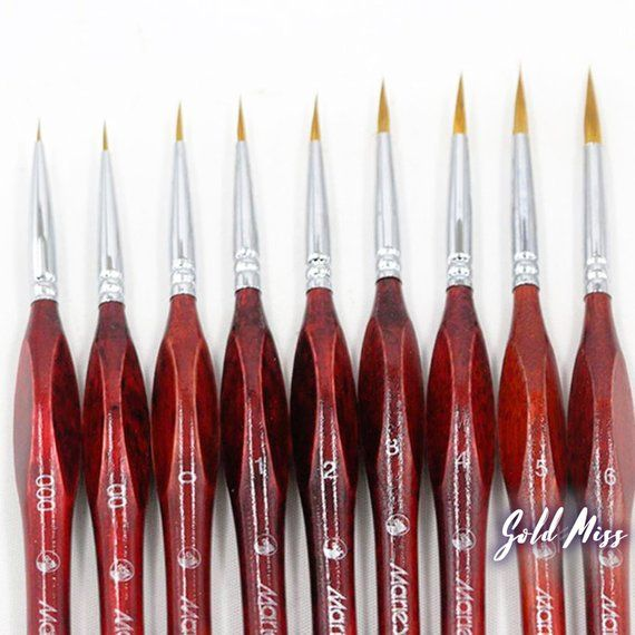 Premium Paintbrush Set Fine Line Professional Quality Watercolor