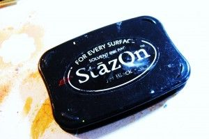 StazOn stamp pad- solvent-based, you you can use it on glass, leather, metal etc. Full review on CraftTestDummies.com