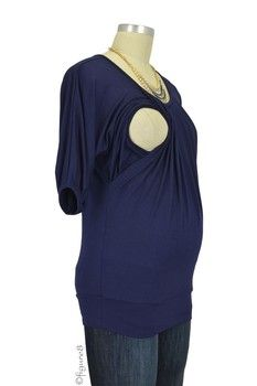The New Operetta Nursing Blouse in Dark Navy by Milky Way with free shipping $39