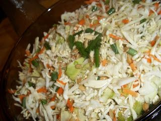 Crunchy Cole Slaw with Ramen Noodles.   I have made this a lot and it is delicious.