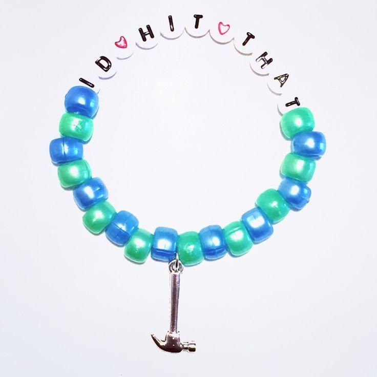Kandi Bracelet- Rave, Rave Kandi, Custom bead bracelet, EDM, hammer charm, id hit that by AmandasKandiShop on Etsy https://www.etsy.com/listing/502836800/kandi-bracelet-rave-rave-kandi-custom