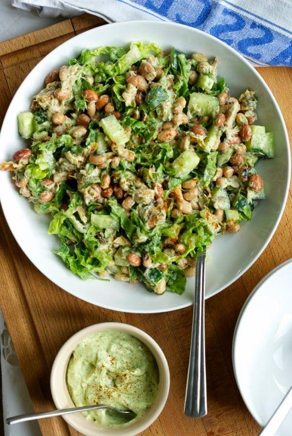 Smoked mackerel and bean salad with avocado dressing