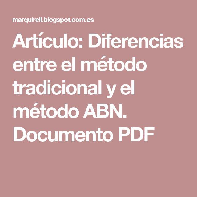 Artículo: Diferencias entre el método tradicional y el método ABN. Documento PDF