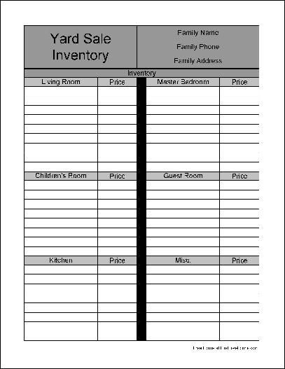 free printable yard sale inventory sheets preview of the