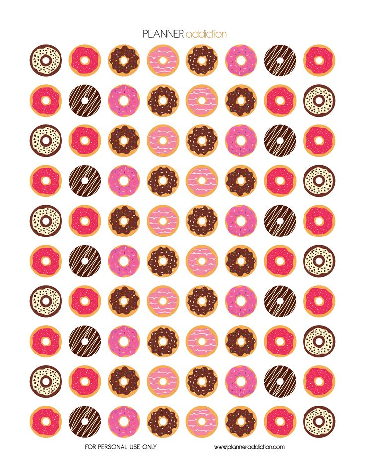 FREE Printable Planner Stickers - Donuts by Planner Addiction