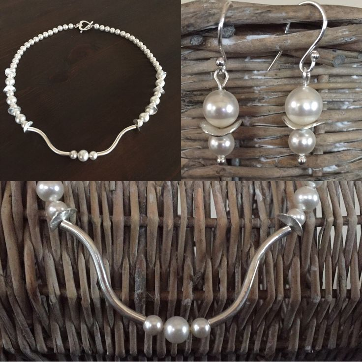 Beautiful Swarovski Pearl & Sterling Silver Necklace & Earring Set was custom made for a bride last year and she looked stunning - now available for made to order