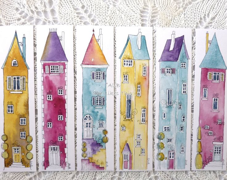 Book Marks Tall houses 6 Cards in a set all professionally printed from my design on thick card these beautifully finished These fun illustrations