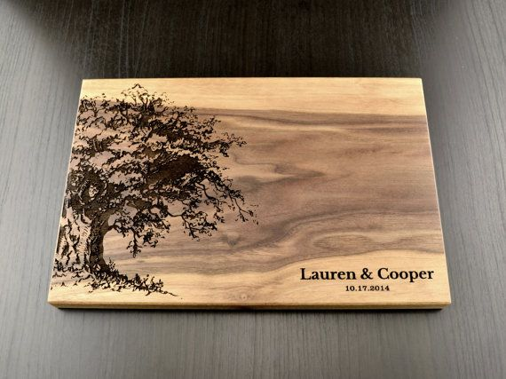 @amber Personalized Cutting Board, Custom Wedding Gift, Housewarming Gift, Anniversary Gift, Engraved Wood Chopping Block, Hostess Gift Carved Tree