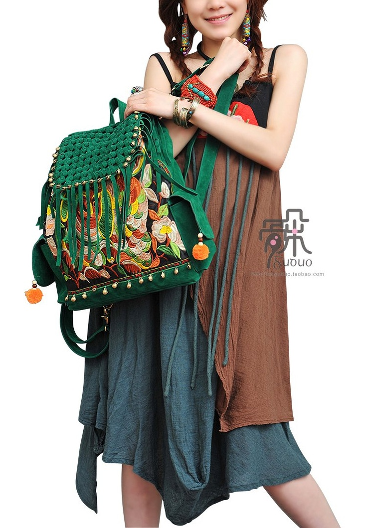 $59 http://www.aliexpress.com/store/product/Genuine-Leather-Hilking-Backpacks-Original-Design-Miao-Embrroidery-Nubuck-Travel-Backpacks-Fashion-Ladies-Tassel-Bag-Handbag/205314_616056772.html#