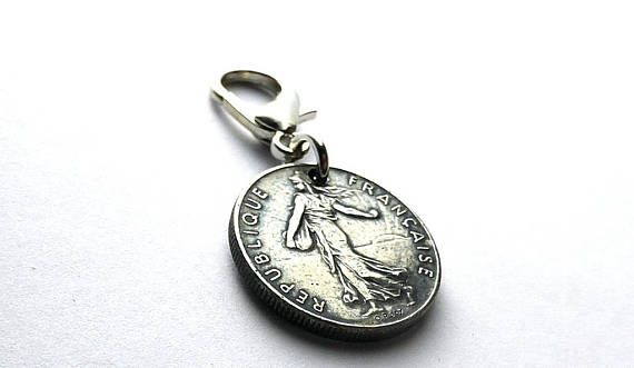 French Le Semeuse Coin charm Zipper charm Gifts under 15