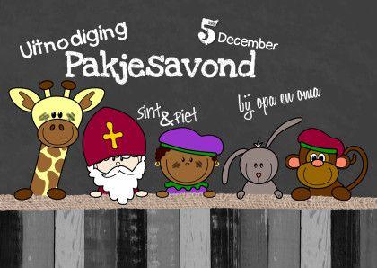 Vrolijke sinterklaaskaart met een illustratie van vrolijke dieren en een Sint en Piet met als achtergrond een krijtbord-look voor een eigen tekst. Design: Heidy. Te vinden op: www.kaartje2go.nl  Maak nu jouw eerste kaart gratis op onze website!
