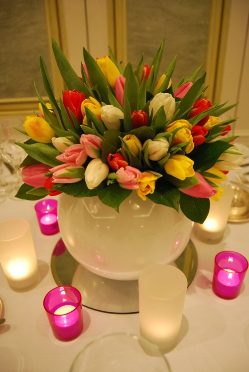 Spring is in the air with this colourful tulip centre piece