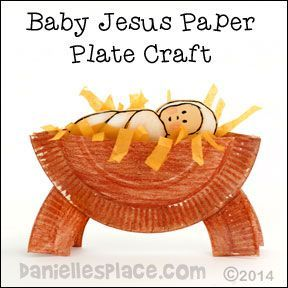 Christmas Craft - Manger Paper Plate Craft with Baby Jesus from www.daniellesplace.com