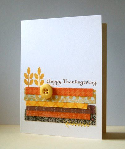 Happy Thanksgiving card just made from scraps of paper, a wheat stamp, and a Happy Thanksgiving sentiment stamp! So simple & clean!