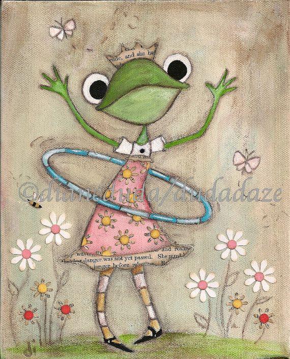 Print of my original Folk Art Childrens painting - Hula Hoop Frog