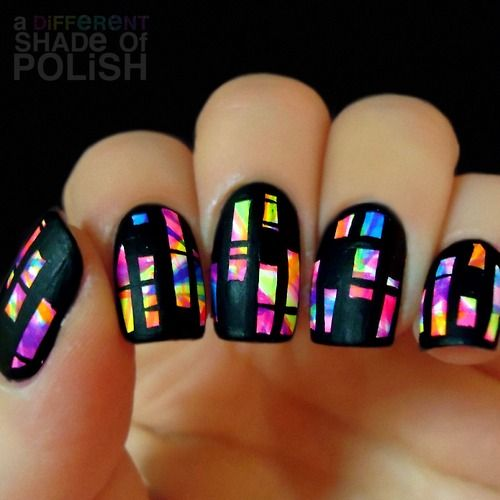 unspecified white base ; neon acrylic paints in abstract pattern, black acrylic over all, no topcoat ; 5/23/14 ; adifferentshadeofpolish