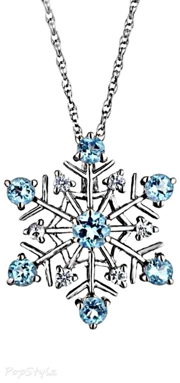 Swiss Blue Topaz & White Sapphire Snowflake Necklace