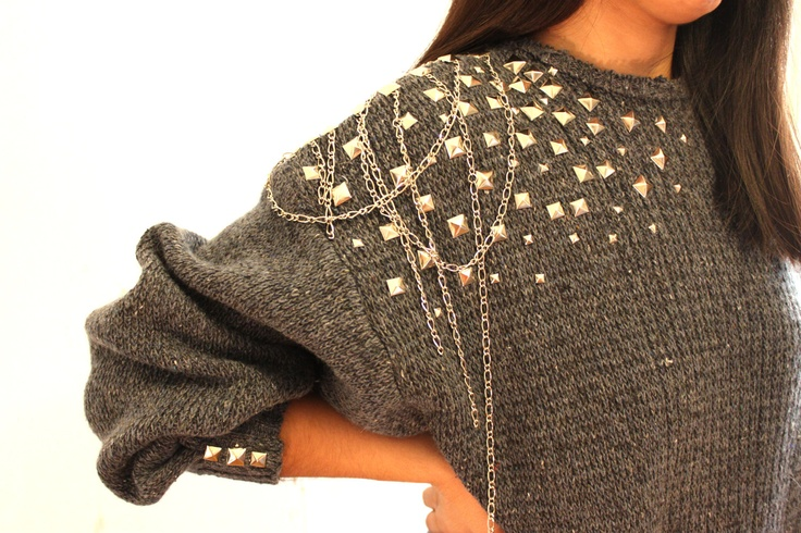 detail on a sweather, casual and edgy