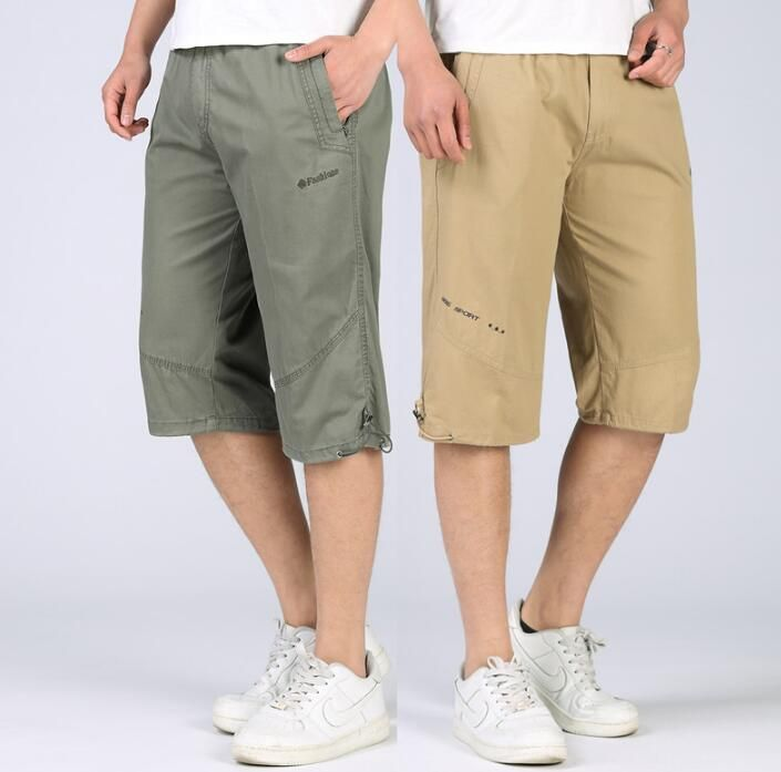 >> Click to Buy << quinquagenarian casual cargo shorts capris men's clothing beach cotton short men korte broek mannen fasther wear black khaki #Affiliate