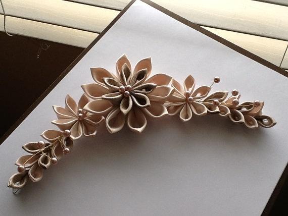 Champagne Kanzashi Flower Hair Barrette Clip by LihiniCreations
